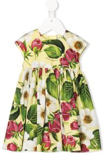 Dolce & Gabbana Kids Vestido Com Pregas E Estampa Floral - Amarelo