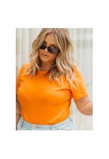 T-Shirt Almaria Plus Size Lady More Meia Malha Laranja