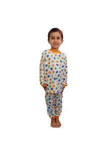 Pijama Manga Longa Infantil Monstro Tamanho 2 Ao 10 Branco