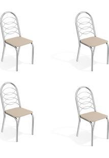 Conjunto Com 4 Cadeiras De Cozinha Holanda Cromado E Nude