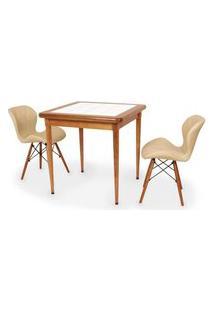 Conjunto Mesa De Jantar Em Madeira Imbuia Com Azulejo + 2 Cadeiras Slim - Nude