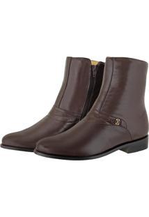 Bota Pessoni Boots & Shoes Cano Alto Social Em Couro Marrom - Kanui