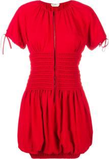 Fendi Vestido Manga Curta Acinturado - Vermelho