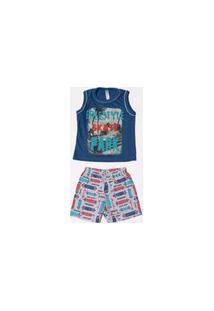 Pijama Malwee Infantil Menino Cavado Azul