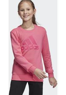 Blusa Infantil Adidas Moletom Must Haves Badge Of Sport Crew - Feminino-Rosa