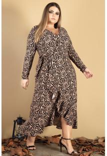 Vestido Transpassado Donna Peck Inverno Zebra