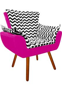 Poltrona Decorativa Opala Suede Composê Estampado Zig Zag Preto D80 E Suede Pink - D'Rossi