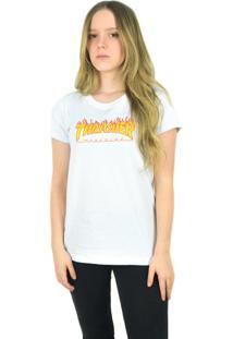 Camiseta Thrasher Magazine Flame Logo Branca