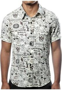 Camisa Camaleão Urbano Caveira Exótica Vintage Masculina - Masculino-Bege