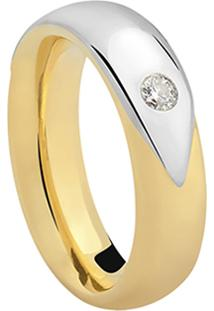 Aliança Noiva Ouro Amarelo Ouro Branco E Diamante