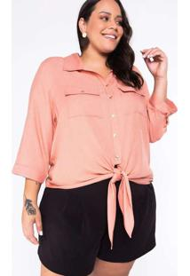 Camisa Almaria Plus Size Garage Nó Rosa