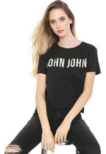 Camiseta John John Logo Holográfico Preta