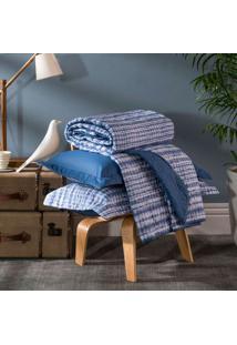 Kit Cobreleito Home Design Solteiro Akemi - Santista - Azul