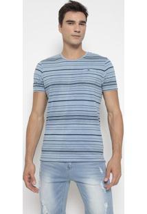 Camiseta Listrada Com Bolso- Azul Claro & Azul Marinho