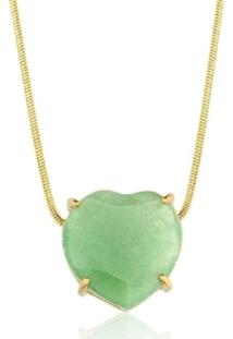 Colar Toque De Joia Coração Pedra Natural Quartzo Verde Amarelo