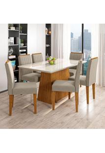 Conjunto De Mesa De Jantar Com Tampo De Vidro Bárbara E 6 Cadeiras Ana Animalle Off White E Cinza