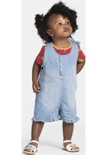 Jardineira Jeans Bebê Menina E Que Acompanha Blusa Puc