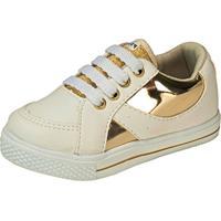 0c34d9a0fe Dafiti. Tênis Casual Plis Calçados Sintético Branco E Dourado