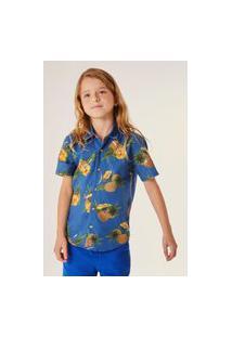 Camisa Mini Pf Mc Tropical Reserva Mini Azul