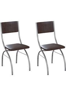Conjunto Com 2 Cadeiras Dubbo Tabaco E Cromado