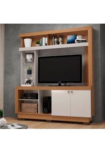 Estante Para Home Theater E Tv Até 50 Polegadas Valença Marrom E Off White