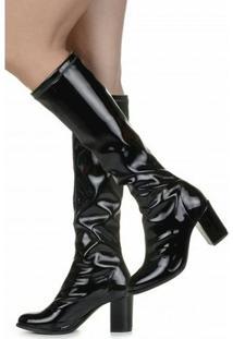Bota Encinas Leather Verniz Strecth - Feminino-Preto