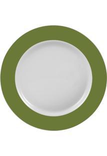 Prato Sobremesa Porcelana Schmidt - Dec. Matte Verde Militar