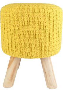 Puff Madeira Algodao Poliester Crochet 4 Feet Amarelo 30 X 38 X 30 Cm Urban