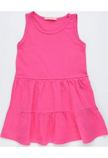 Vestido Infantil Textura Babado Sem Manga Marisa