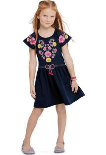 Vestido Floral Com Recorte Nanai Azul