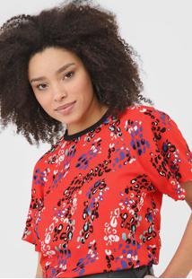 Camiseta Forum Animal Print Vermelha - Vermelho - Feminino - Viscose - Dafiti