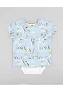 Body Camiseta Infantil Estampado Manga Curta Azul Claro