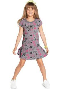 Vestido Infantil Menina Cinza