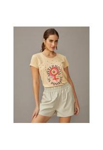 Amaro Feminino T-Shirt Silk Estonado Sisterhood Is Powerful, Areia