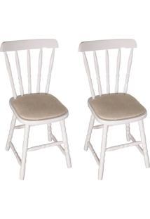 Conjunto Com 2 Cadeiras Dalas Branco E Bege