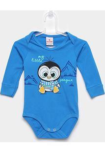Body Infantil Brandili Manga Longa Pinguim - Masculino-Azul