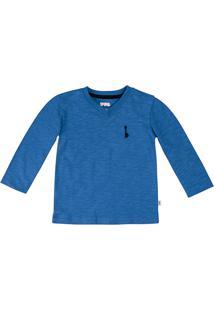 Camiseta Bebê Menino Básica 100% Algodão Em Flamê Com Bordado