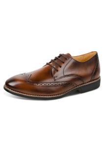 Sapato Linha Premium Oxford Sandro Moscoloni 16319 Marrom Escuro