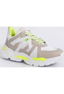 Tênis Feminino Sneaker Recorte Neon Via Marte