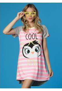 Camisola Manga Curta Visco Pinguim Estrela Adulto Puket - Feminino