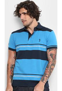 Camisa Polo Aleatory Malha Fio Tinto Masculina - Masculino-Azul+Marinho cb6a19df8deef
