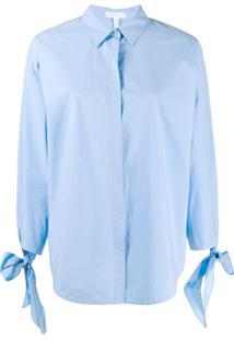 Escada Sport Camisa Com Detalhe De Laço - Azul