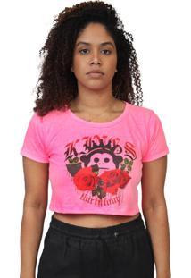 Camiseta Kings Sneakers Cropped Floral Rosa Neon