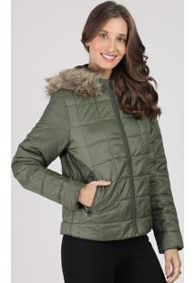 Jaqueta Feminina Matelassê Com Capuz E Pelo Verde Militar