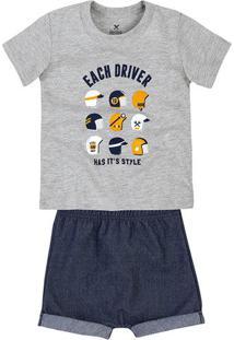 Conjunto Bebê Menino Com Shorts De Moletom Jeans Hering Kids