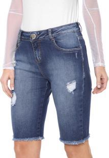 Bermuda Jeans Morena Rosa Ciclista Destroyed Azul