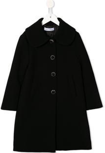 Dolce & Gabbana Kids Casaco Midi Com Abotoamento Simples - Preto