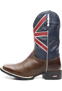 Bota Ellest Texana Azul Bandeira Da Inglaterra Com Marrom