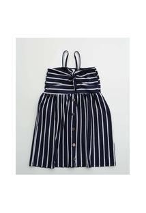 Vestido Infantil Estampa Listrada Alças Finas