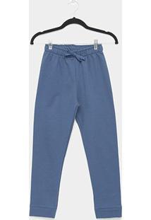 Calça Infantil Kyly Moletom Peluciado Masculino - Masculino-Azul
